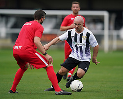 Head for Change's Nicky Parnaby (left) and Team Solan's Parker during the Head for Change and the Solan Connor Fawcett Trust charity match at Spennymoor Town FC, County Durham. Picture date: Sunday September 26, 2021.