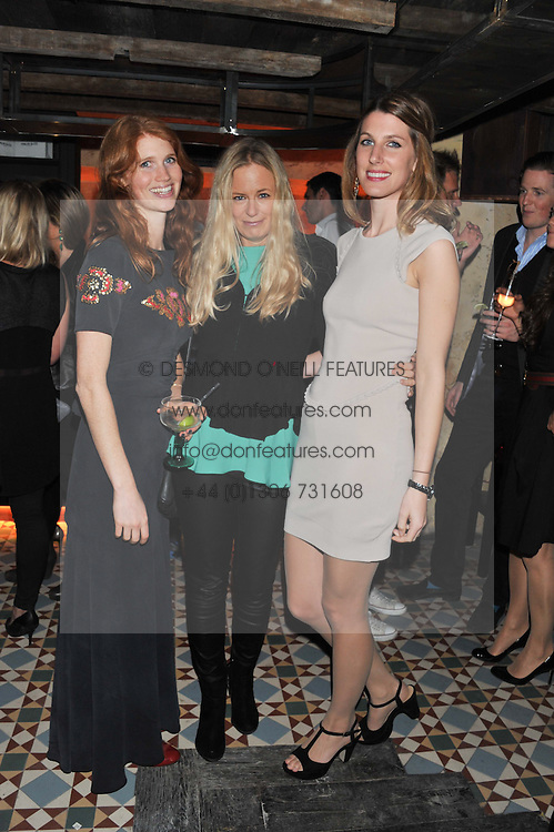 Left to right, LARA HUGHES-YOUNG, ASTRID HARBORD and  SUSANNA WARREN at the launch party for the new nightclub Tonteria, 7-12 Sloane Square, London on 25th October 2012.