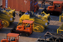 Tractors and other heavy machinery for transport at the Port of Houston