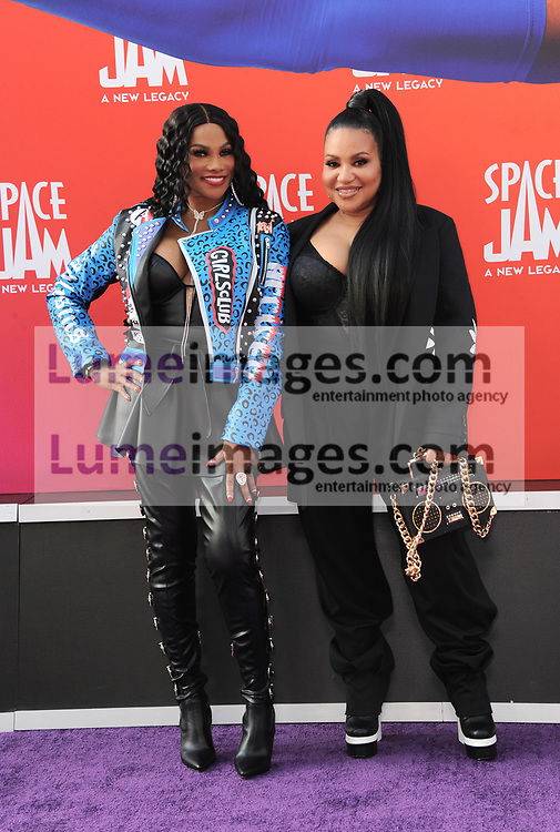 Sandra Jacqueline Denton and Cheryl Renee James of Salt-N-Pepa at the Los Angeles premiere of 'Space Jam: A New Legacy' held at the Regal LA Live in Los Angeles on July 12, 2021.