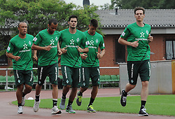 29.06.2011, Platz 11, Bremen, GER, 1.FBL, Laktattest Werder Bremen, im Bild Mikaël Silvestre (Bremen #16), Wesley (Bremen #5), Denni Avdic (Bremen #9), Sandro Wagner (Bremen #19), Tim Borowski (Bremen #6)   // during the training session from Werder Bremen    EXPA Pictures © 2011, PhotoCredit: EXPA/ nph/  Frisch       ****** out of GER / CRO  / BEL ******