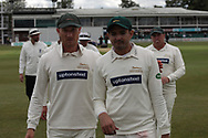 Leicester bowlers Dieter Klein & Muhammad Abbas during the Specsavers County Champ Div 2 match between Leicestershire County Cricket Club and Derbyshire County Cricket Club at the Fischer County Ground, Grace Road, Leicester, United Kingdom on 27 May 2019.