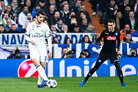 Alvaro Morata of Real Madrid and Jose Maria Callejon of SSC Napoli  during the match of Champions League between Real Madrid and SSC Napoli  at Santiago Bernabeu Stadium in Madrid, Spain. February 15, 2017. (ALTERPHOTOS)
