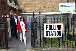 Jeremy Corbyn leaving Pakeman Primay School, his local polling station after casting his vote in the EU elections. Corbyn was accompanied by his wife Laura Alvarez.<br /> <br /> Richard Hancox | EEm 23052019