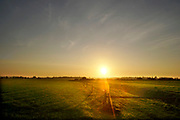 Nederland, Ooijpolder, 6-11-2020 Ondergaande zon . Gele lucht . Foto: ANP/ Hollandse Hoogte/ Flip Franssen