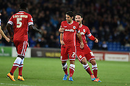 Cardiff city's Peter Whittingham (7) celebrates after he scores his sides 1st goal to make it 1-1. Skybet football league championship match, Cardiff city v Ipswich Town at the Cardiff city stadium in Cardiff, South Wales on Tuesday 21st October 2014<br /> pic by Andrew Orchard, Andrew Orchard sports photography.
