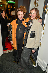 Left to right, JAIME WINSTONE and SIENNA GUILLORY at a party to celebrate the launch of the Maddox Gallery at 9 Maddox Street, London on 3rd December 2015.