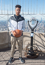 June 20, 2017 - New York, New York, U.S - Projected number one 2017 NBA Draft pick MARKELLE FULTZ visits the Empire State Building June 20, 2017 in New York. (Credit Image: © Bryan Smith via ZUMA Wire)