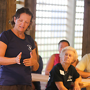 Tracy Skrabal speaks Thursday August 7, 2014 during an N.C. Coastal Federation Night Turtle Walk in Wrightsville Beach, N.C. Last week's excavation of  the town's only nest saw 99 of 102 eggs be successful. (Jason A. Frizzelle)