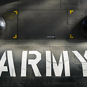 "The ""army"" stencil on the outside of a an American Chinook helicopter at the War Remnants Museum in Ho Chi Minh City (Saigon), Vietnam."