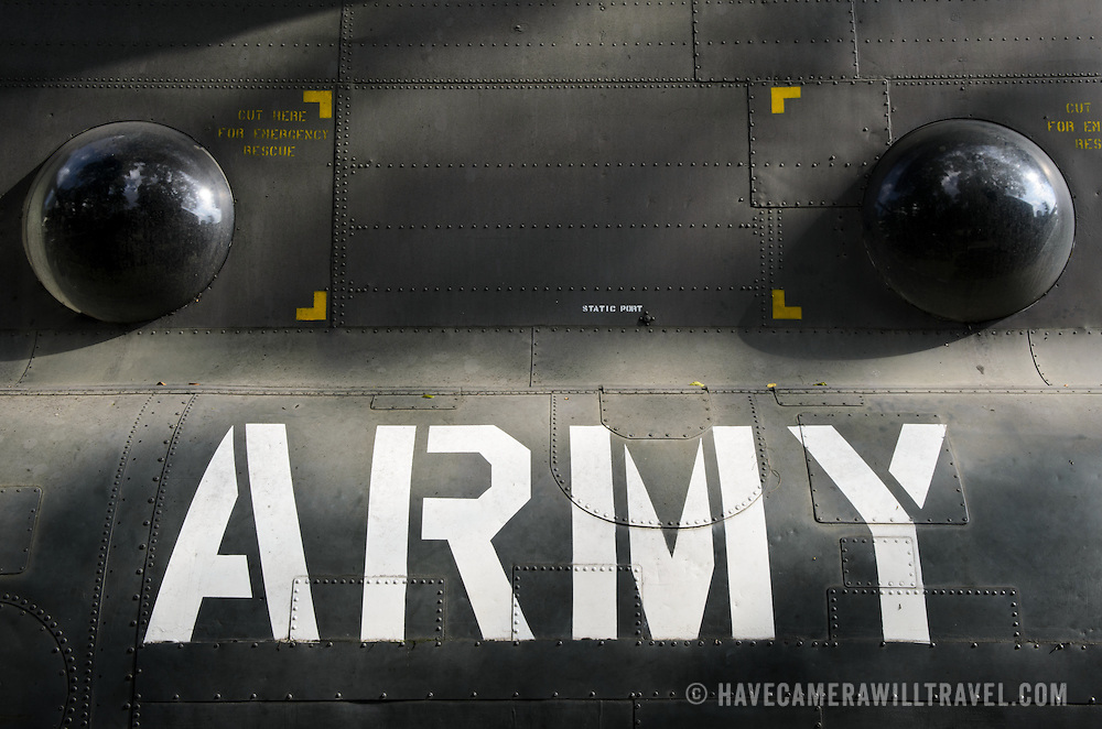 """The """"army"""" stencil on the outside of a an American Chinook helicopter at the War Remnants Museum in Ho Chi Minh City (Saigon), Vietnam."""