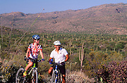 Mountain bikers on Cactus Forest Trail in Saguaro National Park East, Tucson, Arizona..Media Usage:.Subject photograph(s) are copyrighted Edward McCain. All rights are reserved except those specifically granted by McCain Photography in writing...McCain Photography.211 S 4th Avenue.Tucson, AZ 85701-2103.(520) 623-1998.mobile: (520) 990-0999.fax: (520) 623-1190.http://www.mccainphoto.com.edward@mccainphoto.com.