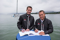 Laurent Lenne (Ceo The Great Cup) and Axel Bauerdorf (Kiel-Marketing) sign the contract for the Sailing Cup Kiel which will be hosted in Kiel 17-20 June. 30-05-2014 Gmunden - Lake Traunsee - Austria.