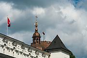 A view of Vilnius Arkikatedra Bazilka and Gediminas Tower/Gedimino Pilies Bokstas, from the Arkikatedra Plaza, Vilnius, Lithuania