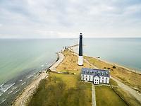 Aerial view of lighthouse at Sõrve Peninsula, Saaremaa island, Estonia.