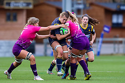 Cara Brincat of Worcester Warriors Women has her charge halted by Sara Svoboda and Anya Richmond of Loughborough Lightning  - Mandatory by-line: Nick Browning/JMP - 14/11/2020 - RUGBY - Sixways Stadium - Worcester, England - Worcester Warriors Women v Loughborough Lightning - Allianz Premier 15s