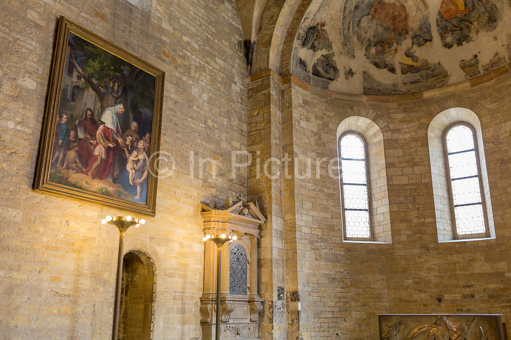 Medieval frescoes in St Georges Basilica in Prague Castle, on 18th March, 2018, in Prague, the Czech Republic. St. Georges Basilica is the oldest surviving church building within Prague Castle, Prague, Czech Republic. The basilica was founded by Vratislaus I of Bohemia in 920. It is dedicated to Saint George and is located within Hradcany-Prazsky Hrad Prague Castle in the Czech capital.