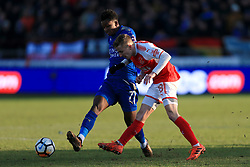 6th January 2018 - FA Cup - 3rd Round - Fleetwood Town v Leicester City - George Glendon of Fleetwood battles with Demarai Gray of Leicester - Photo: Simon Stacpoole / Offside.
