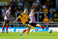 Lincoln City's Max Sanders battles with Boston United's Terry Hawkridge<br /> <br /> Photographer Andrew Vaughan/CameraSport<br /> <br /> Football Pre-Season Friendly - Boston Utd v Lincoln City - Saturday 17th July 2021 - Jakeman's Community Stadium - Boston<br /> <br /> World Copyright © 2021 CameraSport. All rights reserved. 43 Linden Ave. Countesthorpe. Leicester. England. LE8 5PG - Tel: +44 (0) 116 277 4147 - admin@camerasport.com - www.camerasport.com