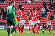 Charlton Athletic attacker Lyle Taylor (9) celebrating after scoring goal during the EFL Sky Bet League 1 match between Charlton Athletic and Rochdale at The Valley, London, England on 4 May 2019.