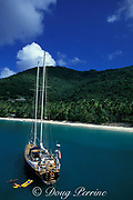 diving and snorkeling <br /> from a charter yacht, <br /> Tortola, British Virgin Islands,<br /> ( Caribbean Sea )