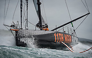 COWES, ENGLAND - 8 AUGUST 2021: The 49th edition of the biennial Rolex Fastnet Race starting from the Royal Yacht Squadron line in Cowes, UK on Sunday 8th August 2021, rounding the 'Fastnet Rock' in Southern Ireland and then finishing in Cherbourg-en-Cotentin. Pictures of the '11th Hour Racing' IMOCA Open60 skippered by Simon Fisher with co skipper Justine Mettraux (Photo by Lloyd Images/11th Hour Racing)