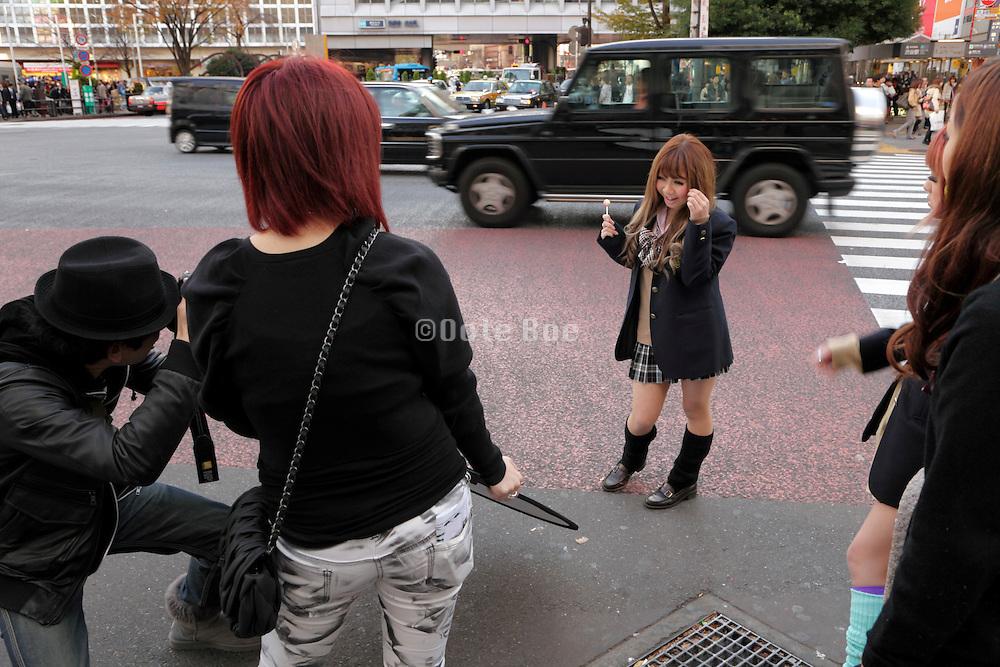 young adult student model shoot Hachiko square Shibuya Tokyo Japan