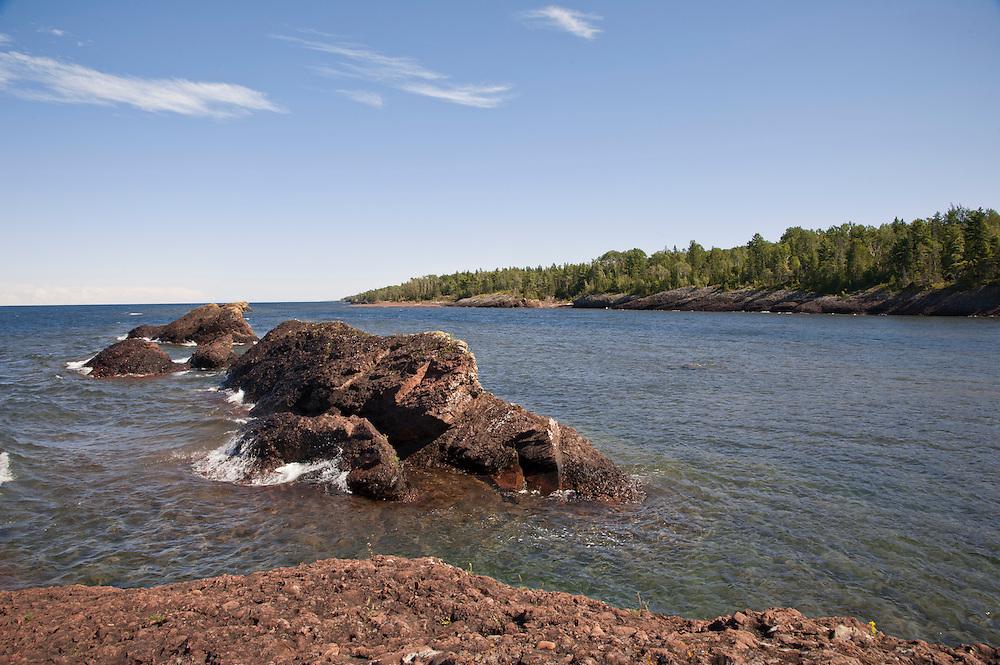 The Lake Superior shoreline at Horseshoe Harbor near Copper Harbor Michigan in the Upper Peninsula.