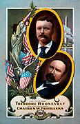 For President Theodore Roosevelt 1904. Vignette of candidates (Theodore Roosevelt, Vice President Charles W. Fairbanks).