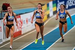 Myke van de Wiel, Britt de Blaauw, Lianne van Krieken in action on the 200 meter final during AA Drink Dutch Athletics Championship Indoor on 21 February 2021 in Apeldoorn.