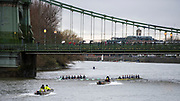 Hammersmith, Greater London, 15th March 2020, Inaugural Men's Lightweight Boat Race, [R] Oxford University Lightweight Men, [Blue Boat],  [L] Cambridge University Lightweight Men's BC,  both crews pass, under, Hammersmith Bridge, Championship Course, Putney to Mortlake, River Thames, [Mandatory Credit: Peter SPURRIER/Intersport Images],