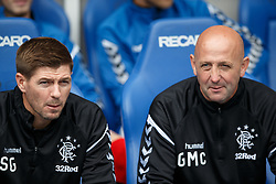 "Rangers manager Steven Gerrard (L) and assistant Gary McAllister (R) during the pre-season friendly match at Ibrox Stadium, Glasgow. PRESS ASSOCIATION Photo. Picture date: Sunday July 29, 2018. See PA story SOCCER Rangers. Photo credit should read: Robert Perry/PA Wire. RESTRICTIONS: EDITORIAL USE ONLY No use with unauthorised audio, video, data, fixture lists, club/league logos or ""live"" services. Online in-match use limited to 75 images, no video emulation. No use in betting, games or single club/league/player publications."