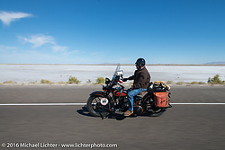 Terry Richardson riding his 1932 Harley-Davidson VL during stage 12 (299 m) of the Motorcycle Cannonball Cross-Country Endurance Run, which on this day ran from Springville, UT to Elko, NV, USA. Wednesday, September 17, 2014.  Photography ©2014 Michael Lichter.