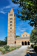 11th cetury Romanesque campinal, one of the finest left standing, of the Church of Santa Maria, Benedictine Abbey of Pomposa, Emilia-Romagna, Italy. .<br /> <br /> Visit our ITALY HISTORIC PLACES PHOTO COLLECTION for more   photos of Italy to download or buy as prints https://funkystock.photoshelter.com/gallery-collection/2b-Pictures-Images-of-Italy-Photos-of-Italian-Historic-Landmark-Sites/C0000qxA2zGFjd_k<br /> .<br /> <br /> Visit our MEDIEVAL PHOTO COLLECTIONS for more   photos  to download or buy as prints https://funkystock.photoshelter.com/gallery-collection/Medieval-Middle-Ages-Historic-Places-Arcaeological-Sites-Pictures-Images-of/C0000B5ZA54_WD0s