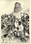 Anglo-Zulu War Illustrating the story '  The tail of Isandhlwana and<br /> Rorke's Drift ' From the book ' The true story book ' Edited by ANDREW LANG illustrated by L. BOGLE, LUCIEN DAVIS, H. J. FORD, C. H. M. KERR, and LANCELOT SPEED. Published by Longmans, Green, and Co. London and New York in 1893