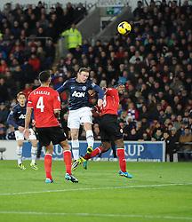 Man Utd Forward Wayne Rooney (ENG) goes close with a headed chance - Photo mandatory by-line: Joseph Meredith/JMP - Tel: Mobile: 07966 386802 - 24/11/2013 - SPORT - FOOTBALL - Cardiff City Stadium - Cardiff City v Manchester United - Barclays Premier League.