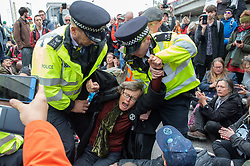 © Licensed to London News Pictures. 10/10/2019. London, UK. An Extinction Rebellion protester screams in pain as police remove her from a road at the main entrance to London City Airport. Photo credit: Peter Manning/LNP