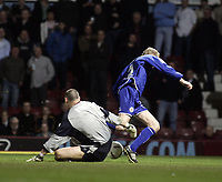 David Connolly wins a penalty after a foul by Stephen Bywater.<br /> West Ham United v Leicester City. Coca-Cola Championship. Picture by Barry Bland 18/03/05