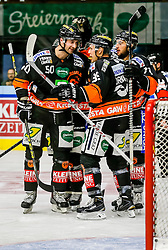 16.10.2015, Eisstadion Liebenau, Graz, AUT, EBEL, Moser Medical Graz 99ers vs Fehervar AV 19, 12. Runde, im Bild von links Sabahudin Kovacevic (EC Graz 99ers), Matt Fornataro (EC Graz 99ers) und Philip DeSimone (EC Graz 99ers) // during the Erste Bank Icehockey League 12th Round match between Moser Medical Graz 99ers and Fehervar AV 19 at the Ice Stadium Liebenau, Graz, Austria on 2015/10/16, EXPA Pictures © 2015, PhotoCredit: EXPA/ Erwin Scheriau