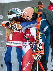 Winner Marta Bassino (ITA) celebrates with third placed Michelle Gisin (SUI) during 2nd Run of Ladies' Giant Slalom at 57th Golden Fox event at Audi FIS Ski World Cup 2020/21, on January 16, 2021 in Podkoren, Kranjska Gora, Slovenia. Photo by Vid Ponikvar / Sportida