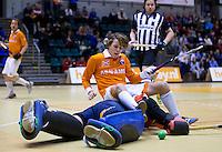 ROTTERDAM - Finale bij de mannen tussen Bloemendaal en HDM. Bloemendaal wint Landskampioenschap zaalhockey voor reserveteams. FOTO KOEN SUYK