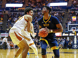 Feb 9, 2019; Morgantown, WV, USA; West Virginia Mountaineers forward Derek Culver (1) makes a move near the basket during the second half against the Texas Longhorns at WVU Coliseum. Mandatory Credit: Ben Queen-USA TODAY Sports
