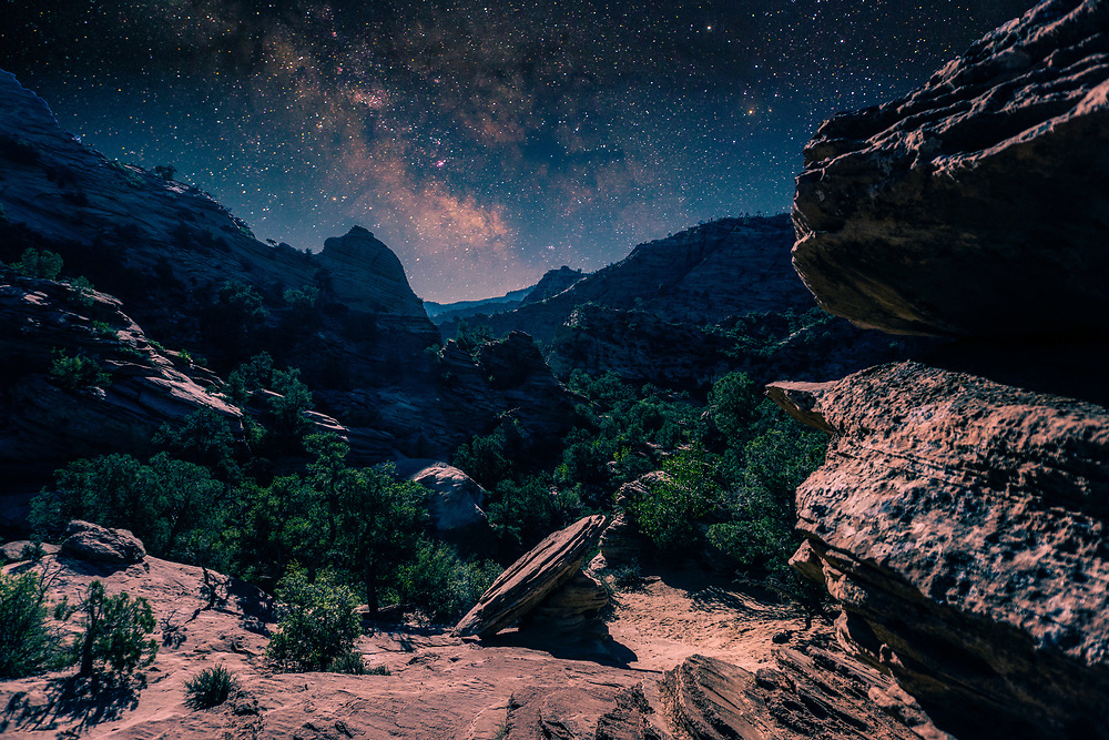 Milky Way Night Sky Landscape at Zion National Park in Utah. ©justinalexanderbartels.com
