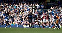 Burnley's Danny Ings battles with Everton's Ross Barkley<br /> <br /> Photographer Stephen White/CameraSport<br /> <br /> Football - Barclays Premiership - Everton v Burnley - Saturday 18th April 2015 - Goodison Park - Everton<br /> <br /> © CameraSport - 43 Linden Ave. Countesthorpe. Leicester. England. LE8 5PG - Tel: +44 (0) 116 277 4147 - admin@camerasport.com - www.camerasport.com