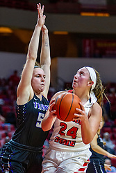 NORMAL, IL - November 05: Megan Talbot defended by Katie Jaseckas during a college women's basketball game between the ISU Redbirds and the Truman State Bulldogs on November 05 2019 at Redbird Arena in Normal, IL. (Photo by Alan Look)