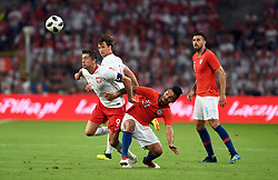 WARSAW, June 9, 2018  Robert Lewandowski (1st L) of Poland vies with Lorenzo Reyes (2nd R) of Chile during the international friendly game between Poland and Chile in Warsaw, Poland, on June 8, 2018. (Credit Image: © Maciej Gillert/Xinhua via ZUMA Wire)