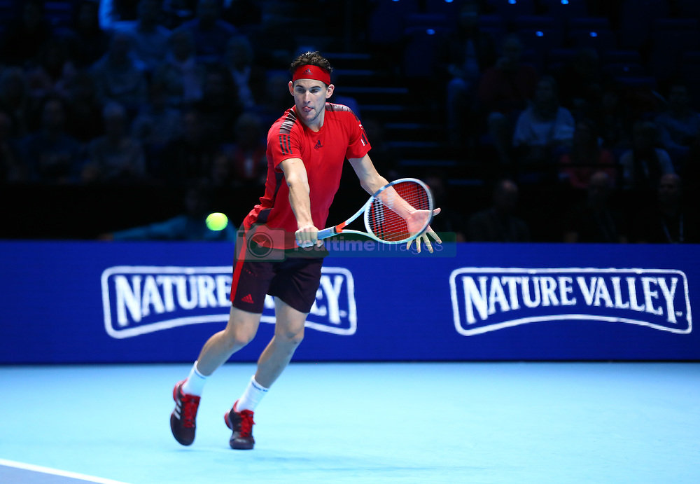 November 17, 2017 - London, United Kingdom - Dominic Thiem of Austria against David Goffin of Belgium.during Day six of the Nitto ATP World Tour  Finals played at The O2 Arena, London on November 17 2017  (Credit Image: © Kieran Galvin/NurPhoto via ZUMA Press)