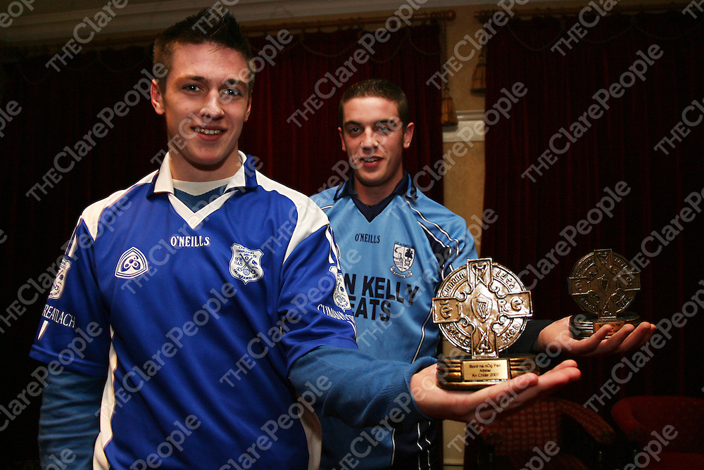 Conro Ryan - Cratloe and Damien Murtagh - Kildysart at the Bord na nOg All Star awards in the Auburn Lodge on Wednesday night.<br /><br />Photograph by Yvonne Vaughan.