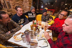 Dan Collins, Bryan Thompson and Steve Caballero with friends at the Mooneyes Area-1 BBQ party. Yokohama, Japan. Monday December 4, 2017. Photography ©2017 Michael Lichter.