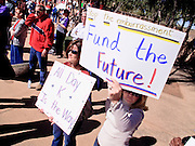 Feb 14, 2009 -- PHOENIX, AZ: About 1,000 people from across Arizona came to the State Capitol Saturday, Feb 14, to rally in favor of state funding for public schools and against budget cuts planned by the Arizona State Legislature. Arizona ranks 49th out of 50 states in per capita spending on public schools. Arizona is facing a massive budget deficit and legislators are expected to cut many state services, including public schools, to balance the budget.  Photo by Jack Kurtz / ZUMA Press
